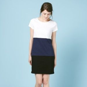 Boden Slub T-shirt Dress Colorblock Stripe Long